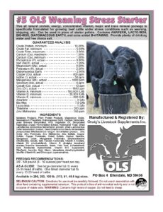 #5 OLS US weaning stress starter calves Supplement